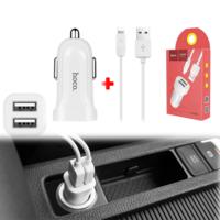 Автомобильное зарядное устройство HOCO Z2A 5V 2.4A 2USB + кабель для iphone lightning